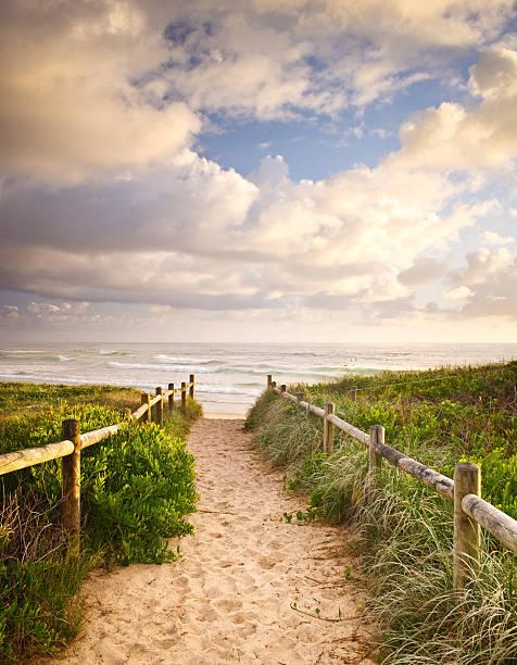 Walkway to Beach stock photo