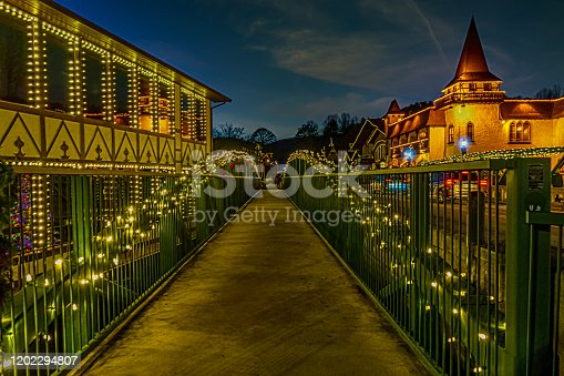 Holiday Lights highlight a walkway to the historic district of Helen Georgia