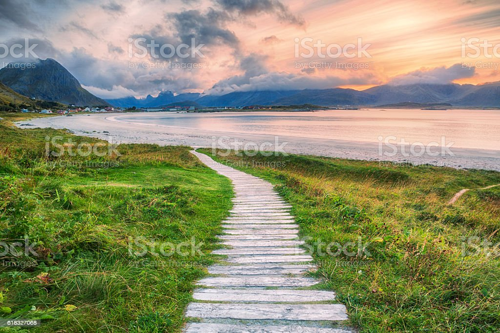 Walkway to Ramberg Beach, Lofoten, Norway stock photo