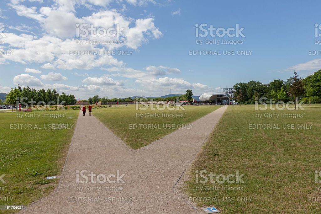 Walkways on the Fortress Ehrenbreitstein plateau in Koblenz, Germany stock photo
