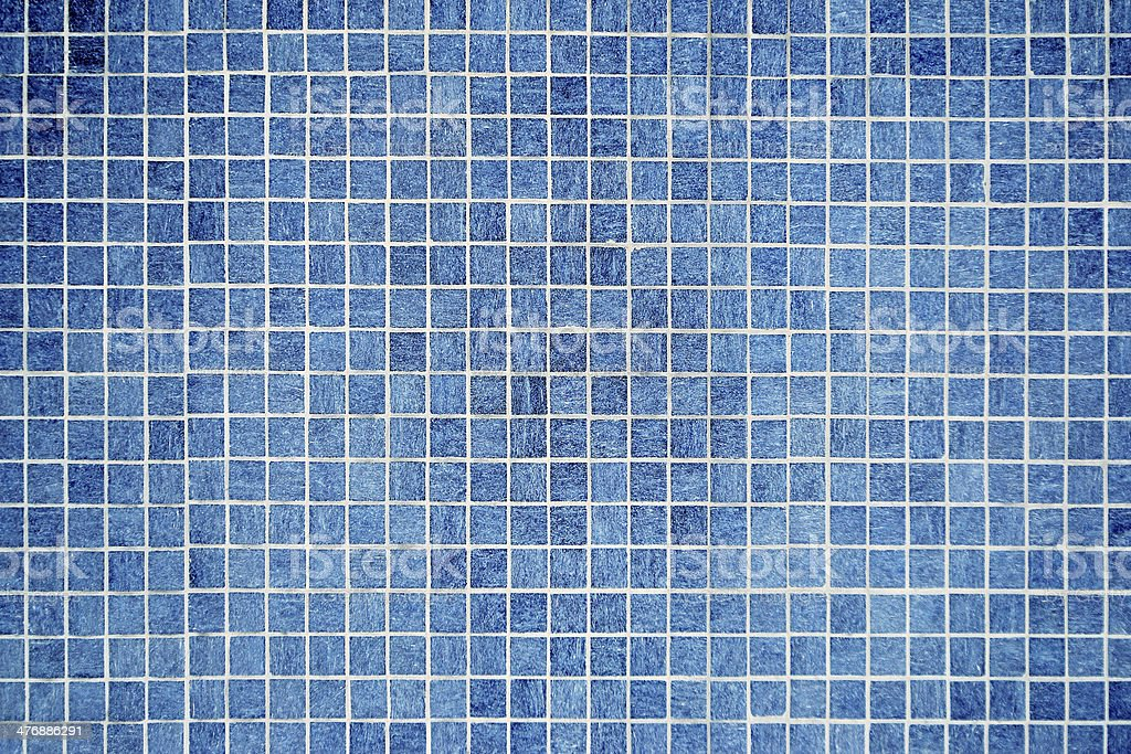 wall and floor mosaic tiles in azure blue stock photo