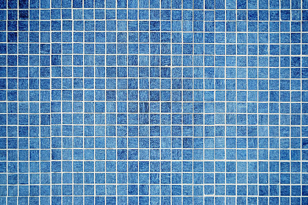 wall and floor mosaic tiles in azure blue - competition group stock photos and pictures