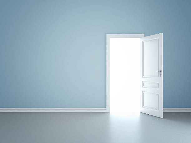 wall and opened door blue wall with opened door doorway stock pictures, royalty-free photos & images