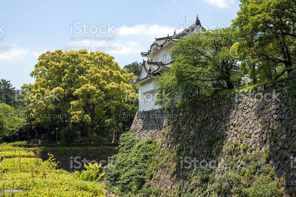 Wall and tower of Nagoya castle royalty-free stock photo