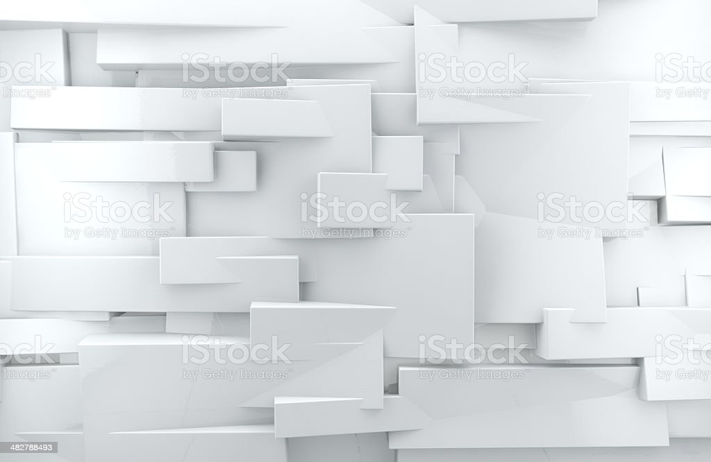 Wall and white cubes stock photo