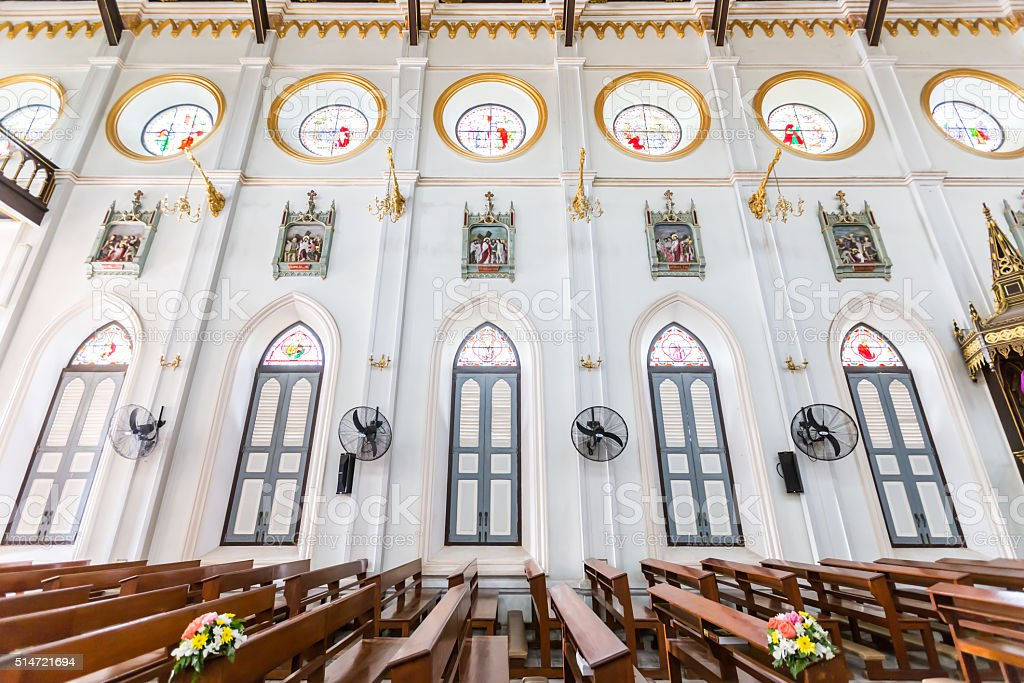 Wall and window inside Christ church in Thailand stock photo