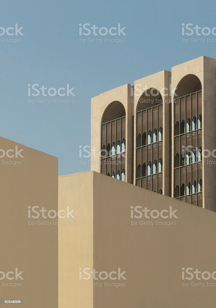 Wall and windows of Arab Building showing architectural design features royalty-free stock photo