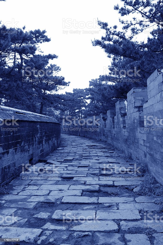 Wall architecture landscape in the Eastern Royal Tombs royalty-free stock photo