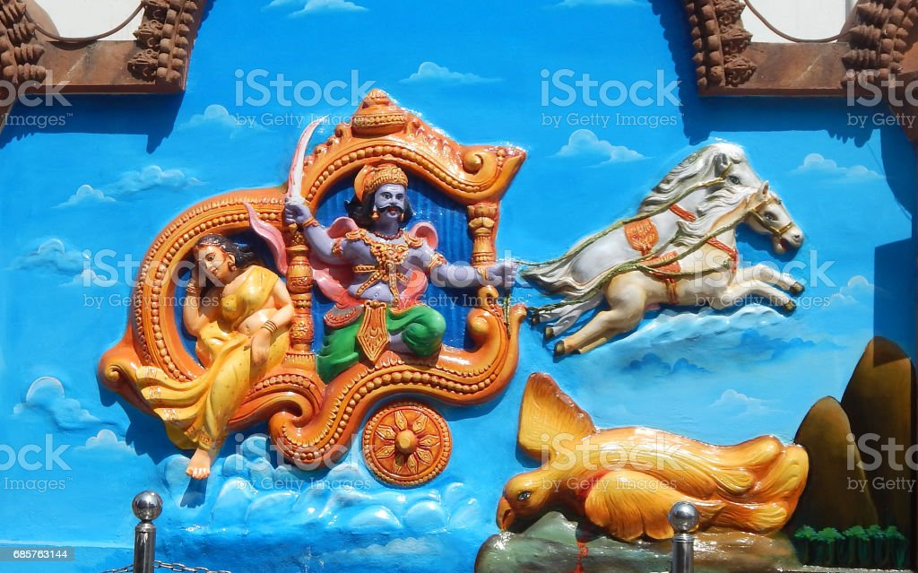 Wall art of Demon king Ravana kidnap Goddess Sita,take to lanka,with Jatayu as in Ramayana in Jagannath temple, Hyderabad,India stock photo