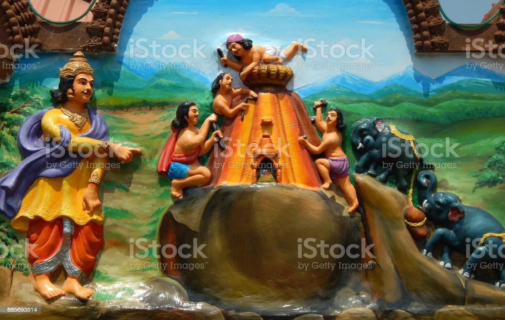 Wall art of Hindu king Indradyumna supervise construction of temple for Lord Jagannath in Puri in Jagannath temple Hyderabad,India stock photo