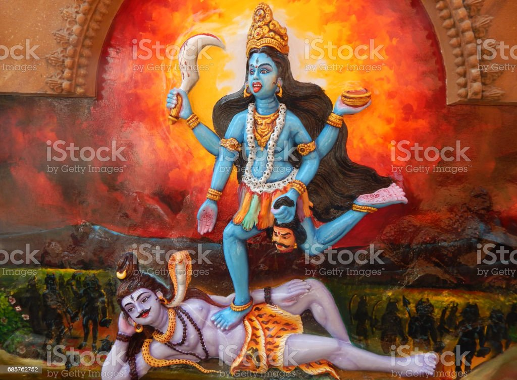 Wall art of Indian Hindu Goddess Shakti and god Shiva in Jagannath temple. Hyderabad.India vector art illustration