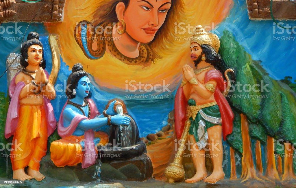 wall art of Sri rama offer prayers to God Shiva in Linga shape as laxman and hanuman look at in Jagannatha temple ,Hyderabad,India. ロイヤリティフリーストックフォト
