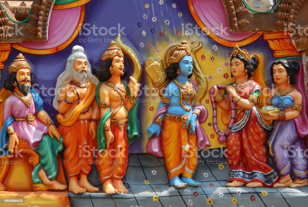 wall art of Sri Rama weds Sita as in mythology, as laxman and Dasaratha look on, in  Jagannath temple, Hyderabad,India. stock photo