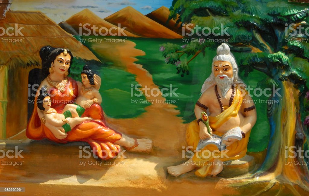 wall art of Valmiki write Hindu epic Ramayana siting in his hermitage which sheltered goddess Sita in Jagannath temple,Hyderabad,India. 免版稅 stock photo