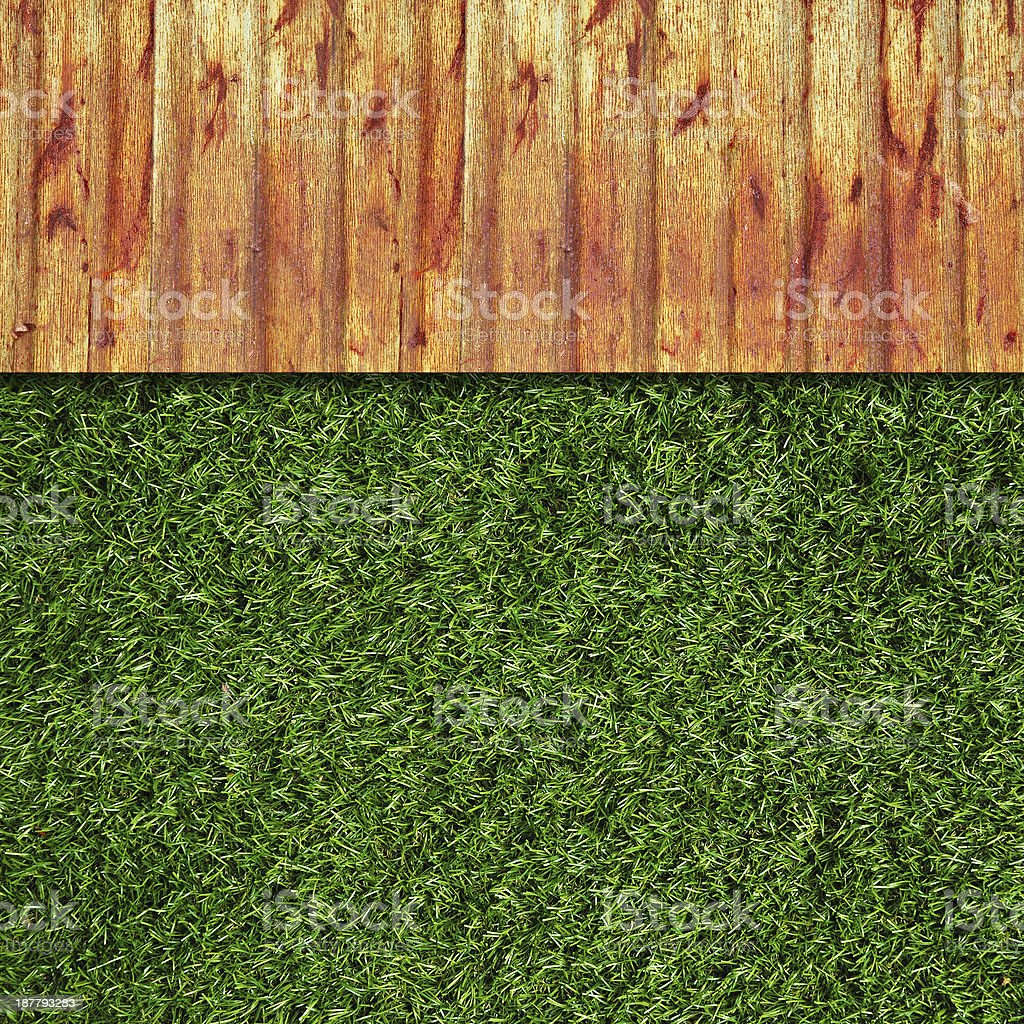 Wall Background on green grass royalty-free stock photo