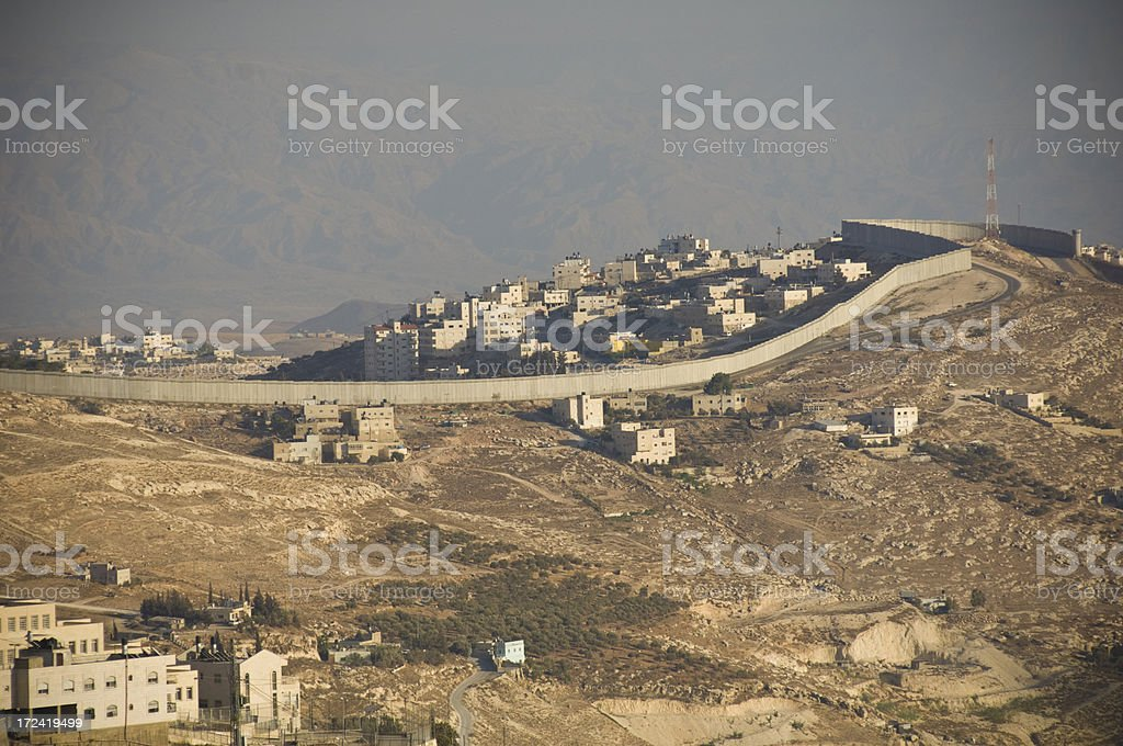 Wall between Israel and West bank stock photo