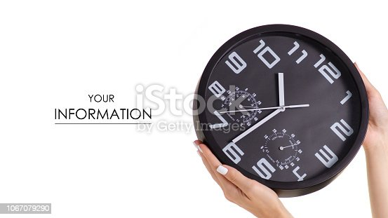 Wall black clock in hand pattern on white background isolation