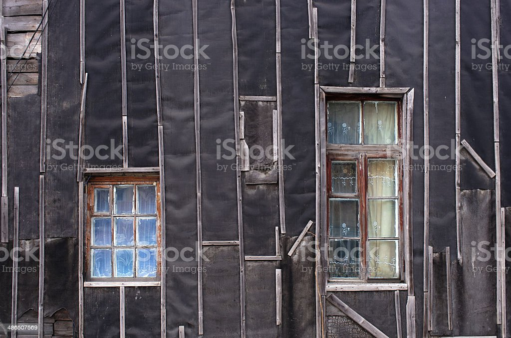 Wall black windows royalty-free stock photo