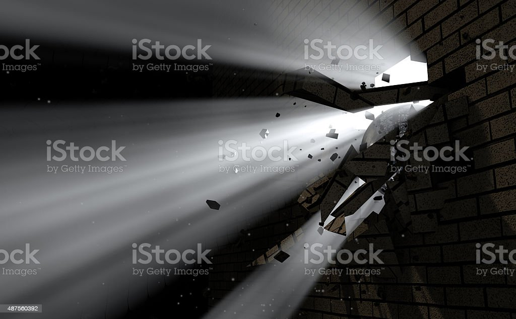 Wall Break Through And Light stock photo