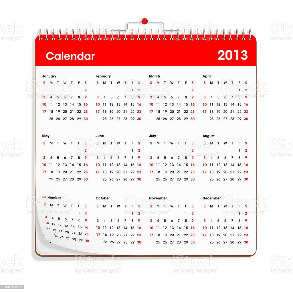Wall Calendar - 2013 royalty-free stock photo