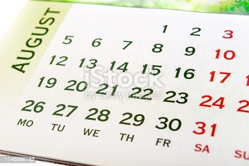 1027407218 istock photo Wall Calendar August 1145996183