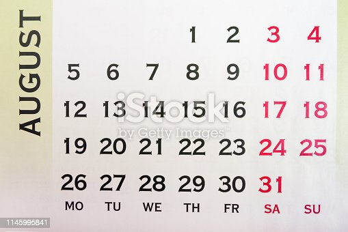 1027407218 istock photo Wall Calendar August top view 1145995841