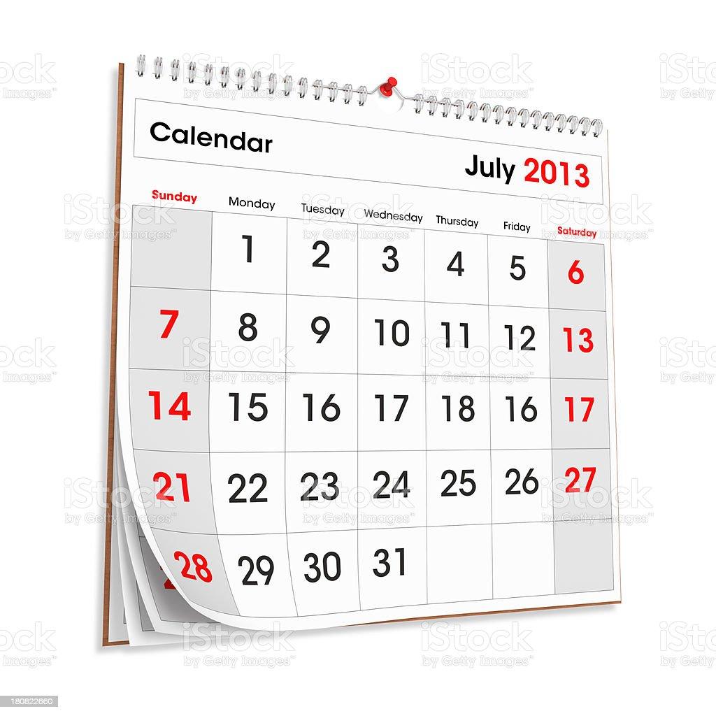 Wall Calendar JULY 2013 royalty-free stock photo