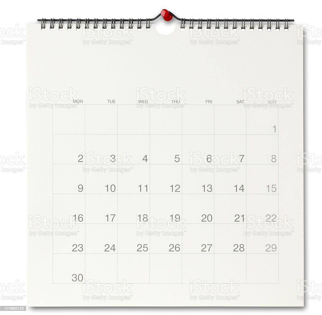 Wall calendar stock photo