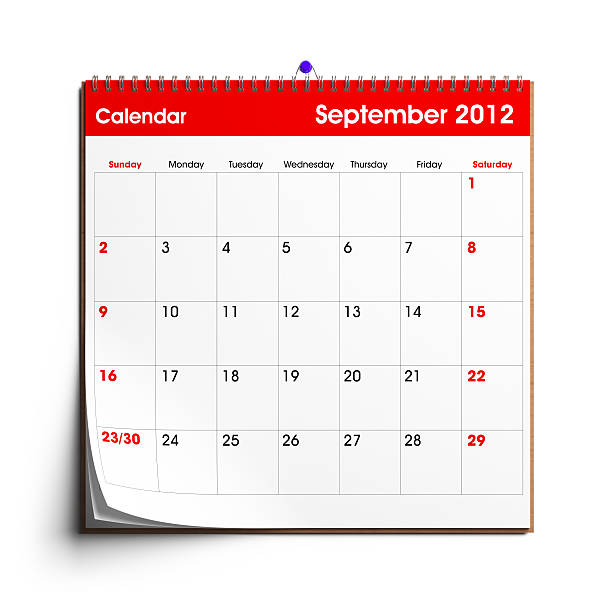 Wall Calendar September 2012 A wall calendar with September 2012 displayed.Check out the other images in this series here... 2012 stock pictures, royalty-free photos & images