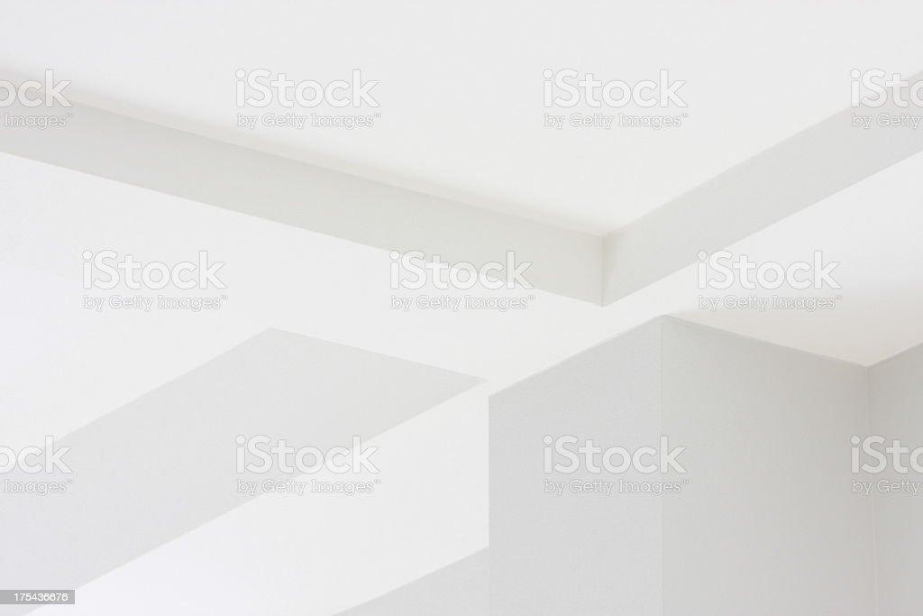 Uma parede branca teto e decoração de arquitetura de canto - foto de acervo