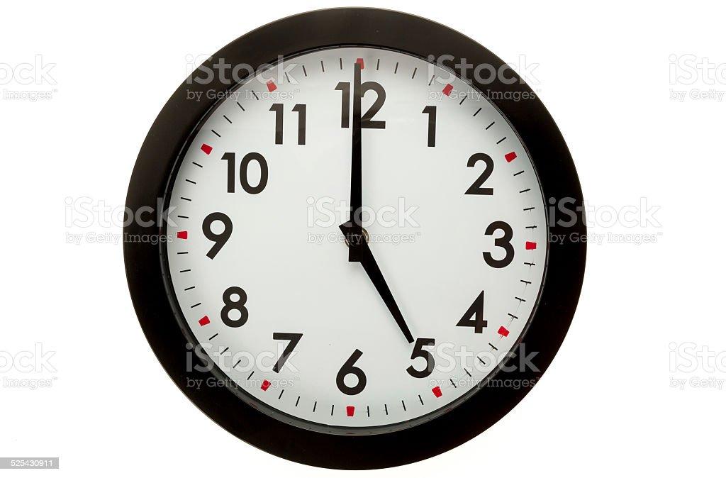 Wall clock - 5 o'clock stock photo