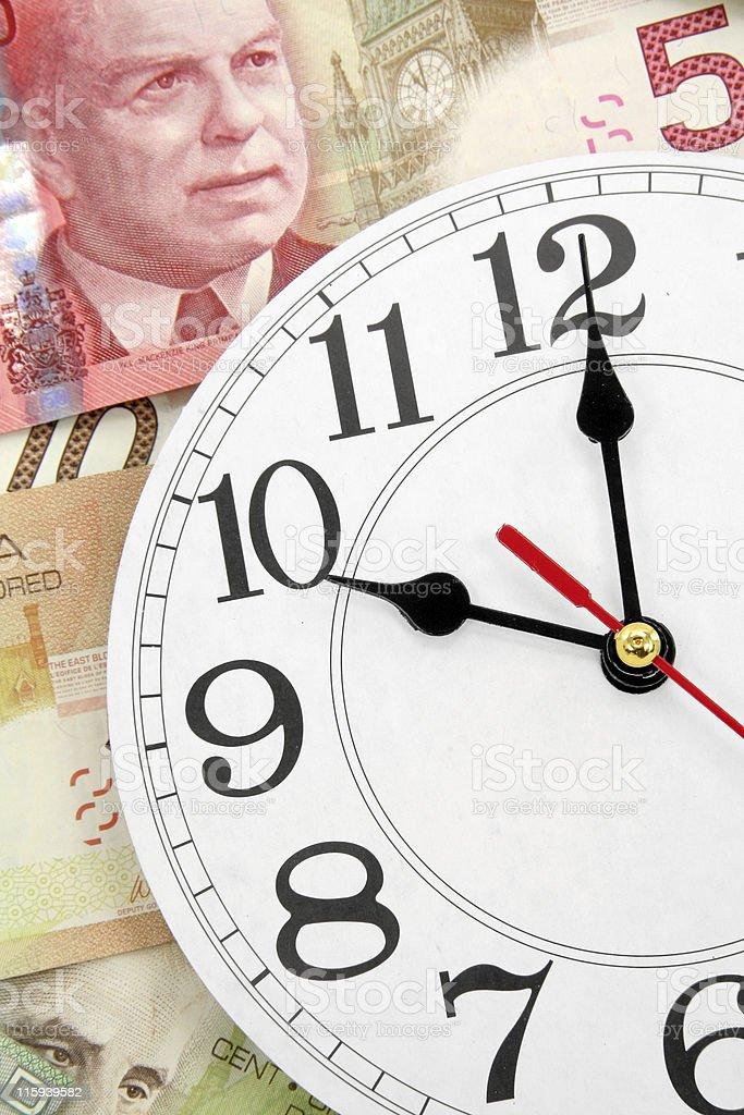 wall clock and canadian dollars royalty-free stock photo