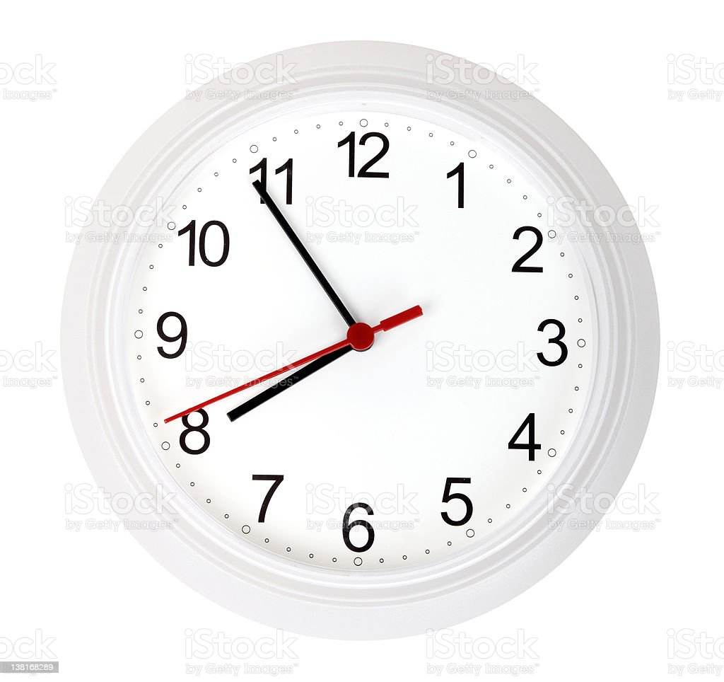 Wall clock isolated over a white background stock photo