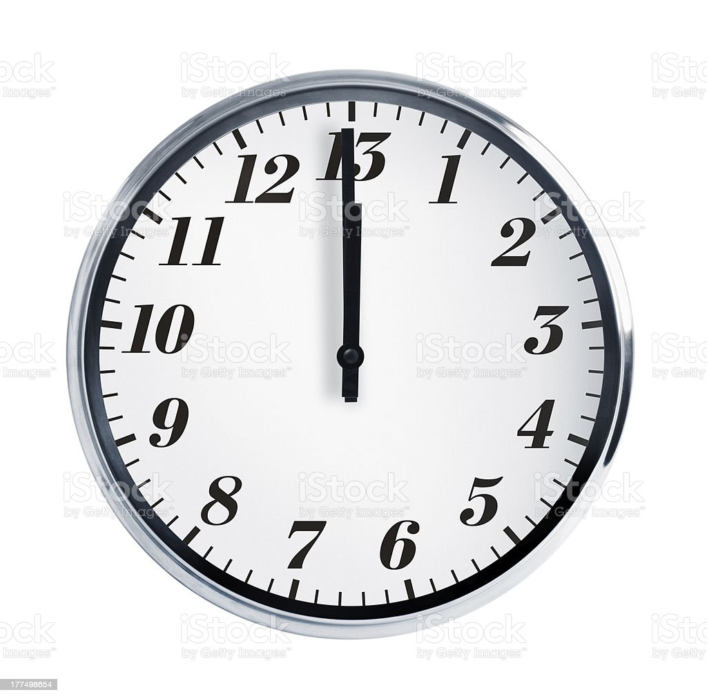 Wall clock on a white background stock photo