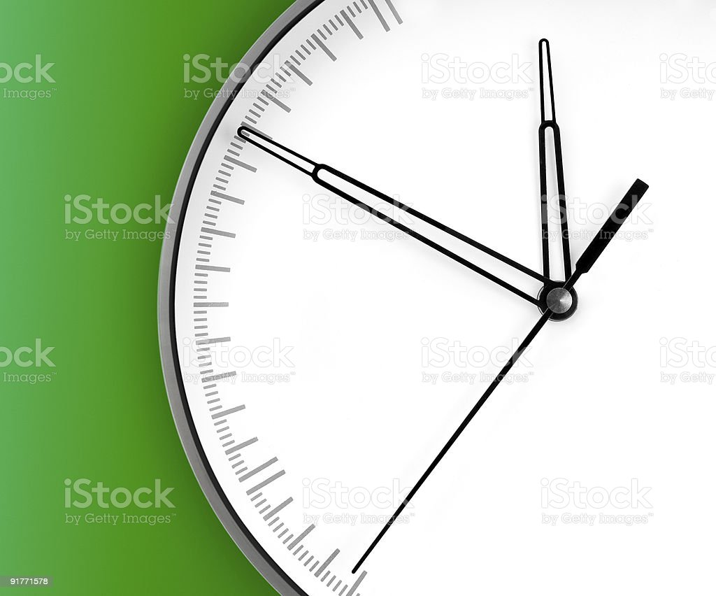 Wall Clock, on green background royalty-free stock photo