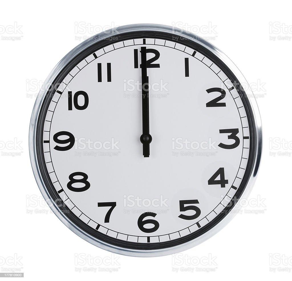 Wall clock show the twelve o'clock stock photo