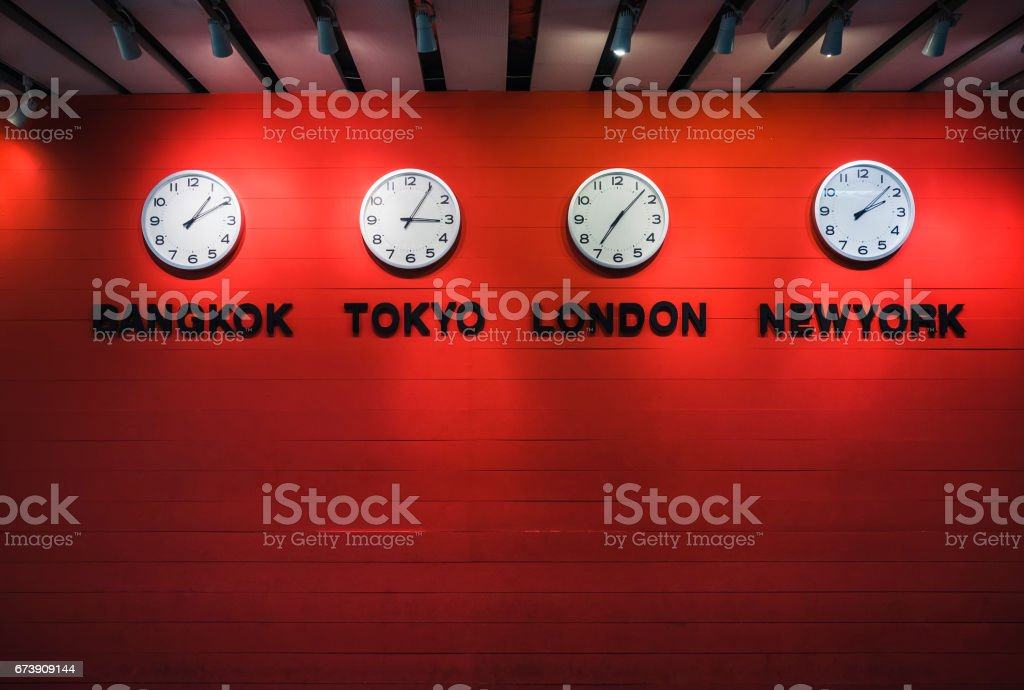 Wall Clock Time zones Around the world stock photo