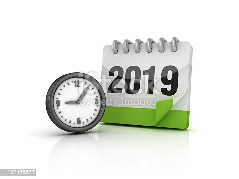 istock Wall Clock with 2019 Calendar - 3D Rendering 1132455577