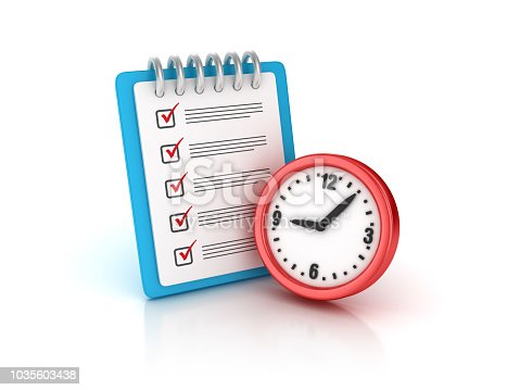 Wall Clock with Check List Clipboard - White Background - 3D Rendering