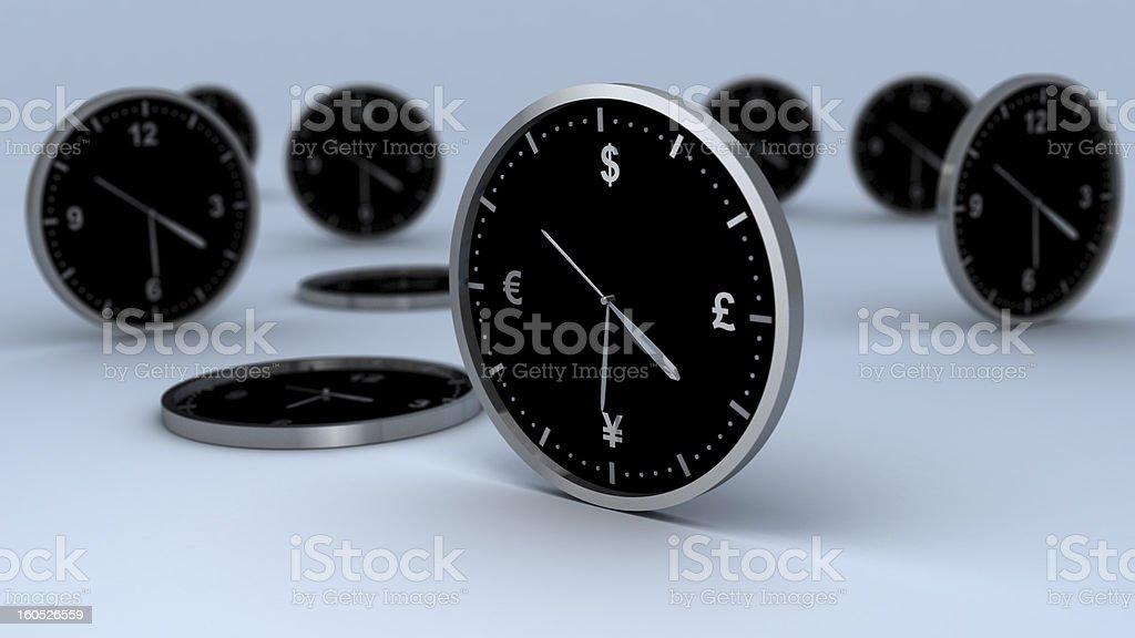 Wall Clock With Finance Symbols royalty-free stock photo