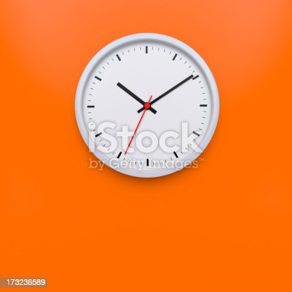 Wall clock with space for copy.