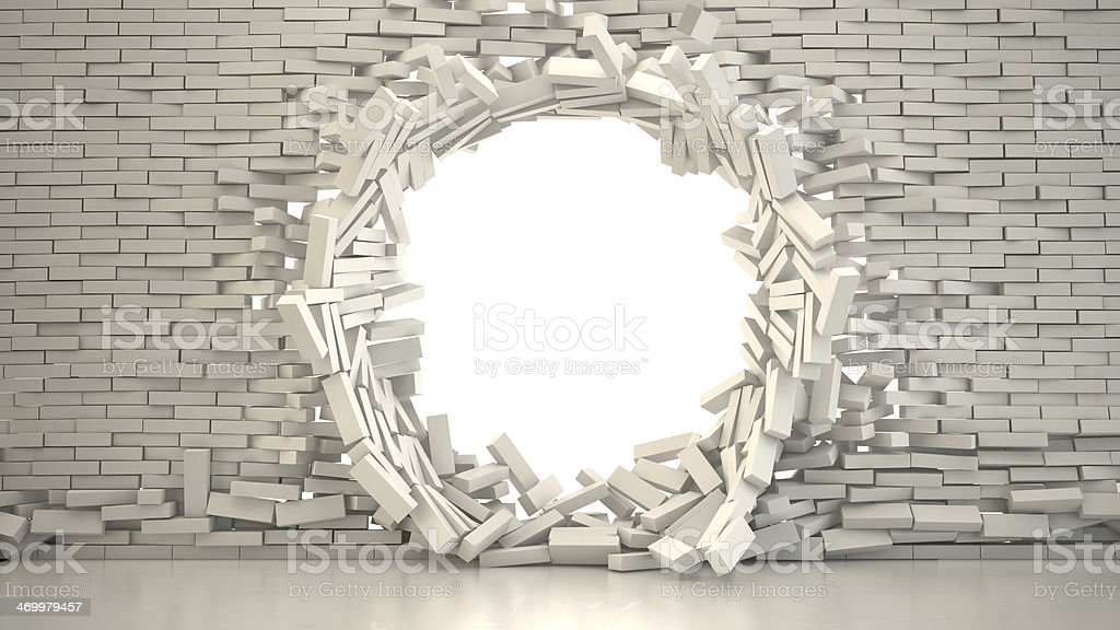 Wall Collapsing stock photo
