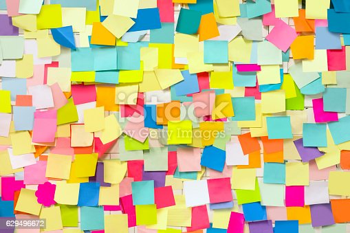 Wall covered with blank adhesive note papers