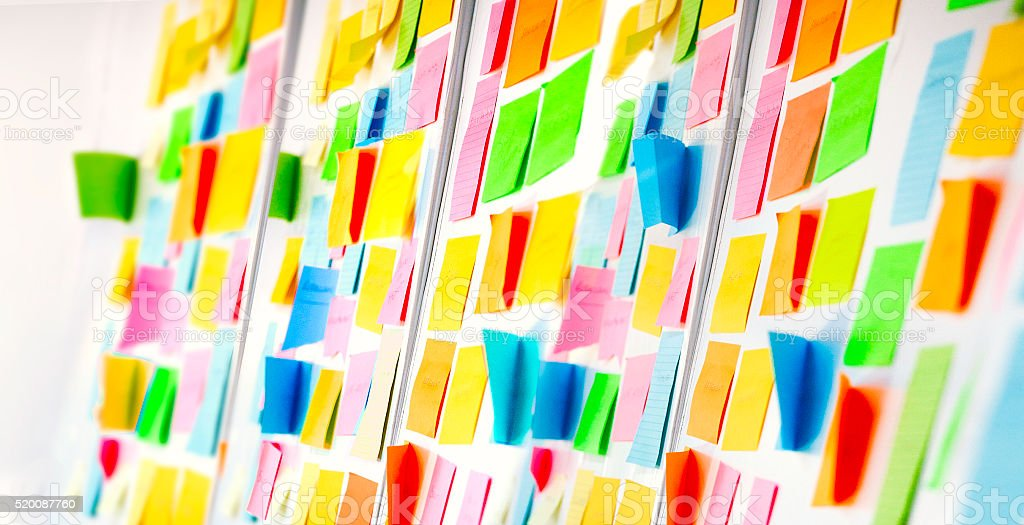 Wall covered with sticky notes stock photo