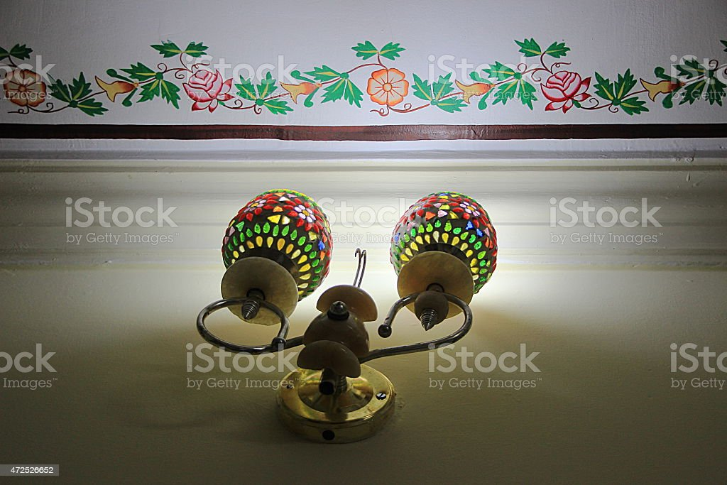 Wall Decor and Twin Lamps stock photo