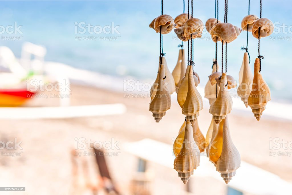 Wall Decor Made Of Shells Handmade Wind Chimes Of Seashells Bali Stock Photo Download Image Now Istock