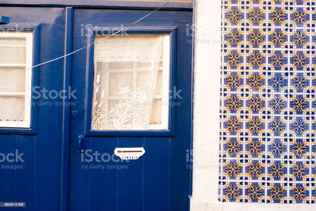 Wall decorated with azulejos, traditional portuguese tiles stock photo