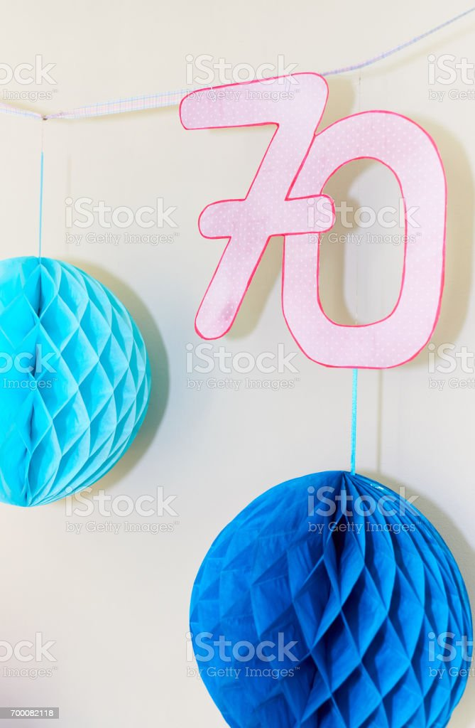 Wall decoration for 70th bithday party stock photo