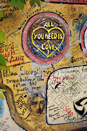 St. Petersburg, Russia - March 17, 2014: wall dedicated to the Beatles on John Lennon street on March 17, 2014 in St. Petersburg.