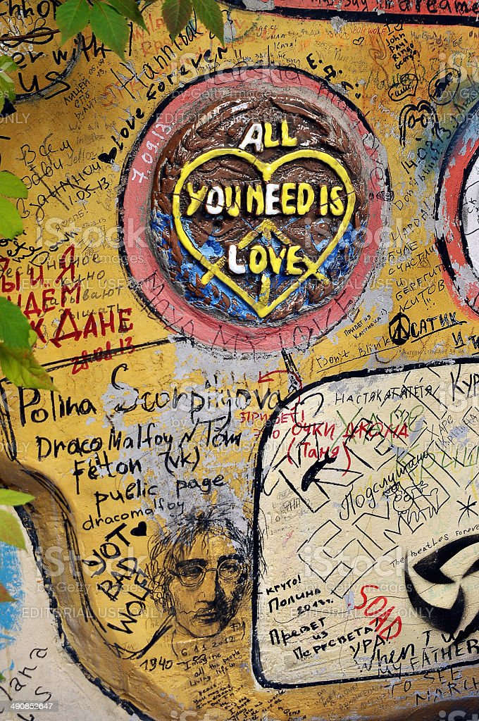 Wall dedicated to the Beatles on John Lennon street stock photo